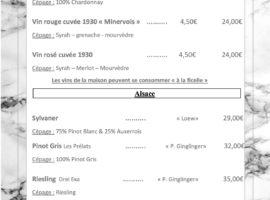 Carte des vins au 16-01