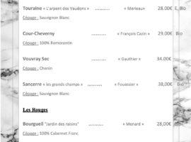 Carte des vins au 16-01.