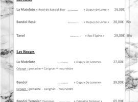 Carte des vins au 16-01.. . .