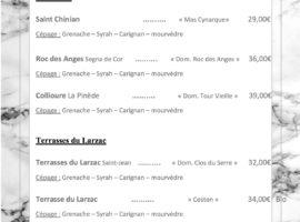 Carte des vins au 16-01.. .