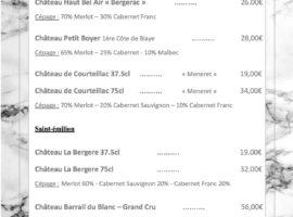Carte des vins au 16-01.. .. ..