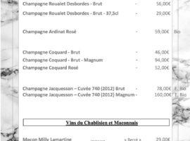 Carte des vins au 16-01..