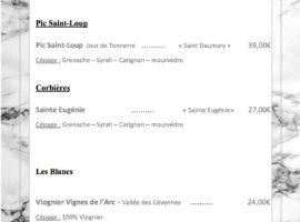Carte des vins au 16-01... ..