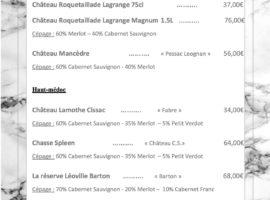 Carte des vins au 16-01.... .. .