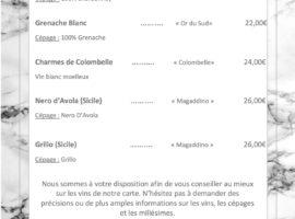 Carte des vins au 16-01..... .. .. .. ..