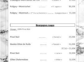 Carte des vins au 16-01.....