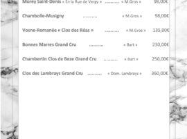 Carte des vins au 16-01............